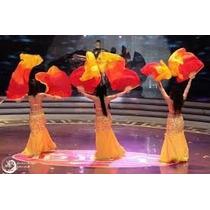 Abanicos (fan Veil) De Seda Color Fuego X Par