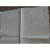 Pañuelo Hilo Blanco 27x27cm Bordado, Bolillo, Term.manual