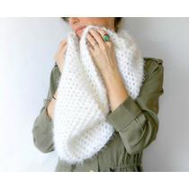 Cuello Gran Bufanda Infinita Tejido Artesanal Encaje Crochet