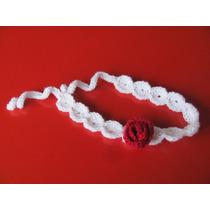 Vincha Tejida Al Crochet Con Aplique De Flor De Rosa