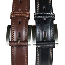 Cinturon Cuero Costura Vaca Negro Choco Almacen De Cueros
