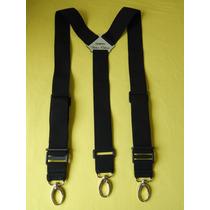 Tirador Pantalón Suspenders Mosquetones Presillas Negro 4cm