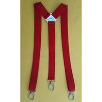 Tirador Pantalón Suspenders Unisex Mosquetón Plata Rojo 3cm