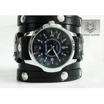 Muñequera De Cuero Con Reloj Shield Markov Cueros