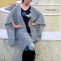 Ruanas Tejidas Artesanales Crochet Lisa Lana Mujer