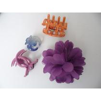 Lote De 4 Accesorios Para El Pelo Flor Broches Violeta