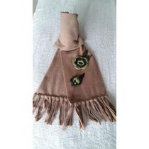 Bufanda Polar Mujer Con Aplique Artesanal Crochet Tejido