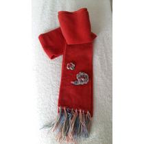 Bufanda Polar Nena Con Aplique Artesanal Crochet Tejido