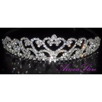 Hermosa Tiara O Corona Para Novias En Plateado Con Strass