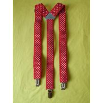 Tirador Pantalón Suspenders Pinza Madison Rojo/lun Blan 3cm
