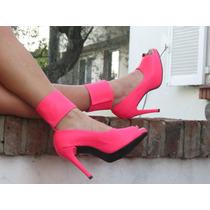 Taconesde Neon Talle 39 Y 36 Taco 13 Cms Color Rosa Fluor