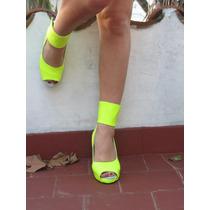 Taconesde Neon Talle 39 Taco 13 Cms Color Amarillo Fluor
