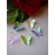 100 Mariposas Tornasolada Decoración Plástica Tortas Cupcake