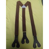 Tirador Pantalón Suspenders Doble Ojal Boton Marròn 3cm