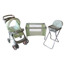 Coche De Muñecas+cuna+silla De Comer Kiddy-set