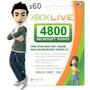 4800 Microsoft Points Usa - U$60 Para Juegos Xbox 360 Y One