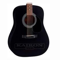 Guitarra Acustica Cort Ad810 Bks Negro Satin Con Funda Cort