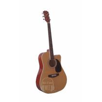 Guitarra Acustica Parquer Gac126mr Cuerdas Acero Flameado