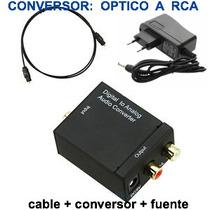 Conversor Audio Digital Coaxial Fibra Optica Toslink + Cable
