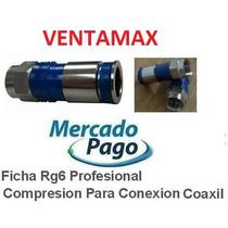 25 Ficha Rg6 Profesional Compresion Para Conexion Fta Coaxil