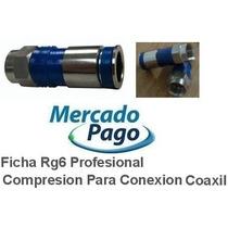 Ficha Rg6 Profesional Compresion Conexion Fta Coaxil 50 Uni