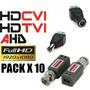 Pack X 10 Balun Conector Dc Macho Hembra Cctv Ahd Cvi Tvi Hd