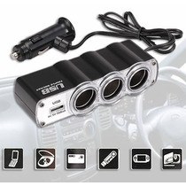 Triple Socket 3 Bocas Con Cable+cargador Usb 12v -24v P/auto