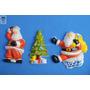Muñecos Lote Papa Noel Arbolito Brillantina Navidad Retro