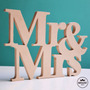Mr & Mrs Letras Cartel De Fibrofacil 20cm Alto 15mm Espesor
