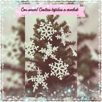 Copos De Nieve Adornos Navidad Tejidos A Crochet Set X 6