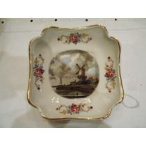 Plato Porcelana Imagen Holanda Con Bordes Oro Y Flores