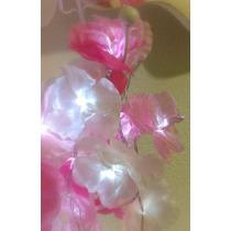 Guirnalda 100 Luces Led Con 100 Flores De Tela 10 Metros!!