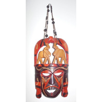 Mascara Africana Tallada En Madera Y Pintada A Mano