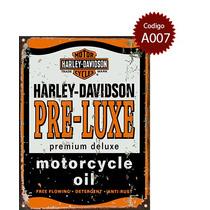 Cartel De Chapa Publicidad Antigua Harley Davidson Varias