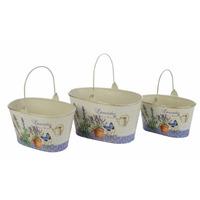 B&f- Set 3 Maceteros Canasta De Lata Lavender Decoración