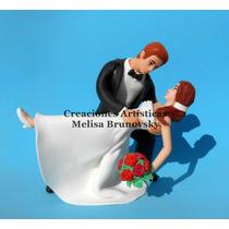 Novios Casamiento 20 Cm, Porcelana Fria Para Torta O Adorno