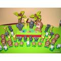 Animalitos De La Selva Adorno Para Torta Porcelana Fría