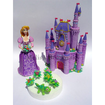 Rapunzel 28cm+castillo+camaleón+ampliques, Enredados Disney