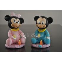 Adorno Para Torta Mickey/minnie Bebe Porcelana Fria