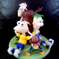 Adorno De Torta Phineas Y Ferb En Porcelana Fria