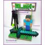 Minecraft Enderman Y Steve Adorno Torta O Escritorio !!!