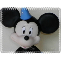 Mickey Mouse+regalo+bonete+nombre Adorno De Torta Porcelana