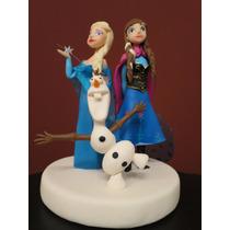 Adorno Para Torta De Frozen Elsa + Ana + Olaf