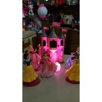Adorno Para Torta Con Luz 5 Princesas De 12cm + Castillo