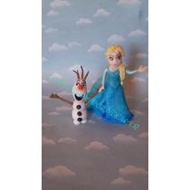 Adorno Para Torta Frozen, Elsa En Porcelana Fria
