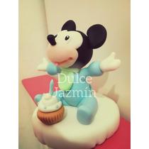 Adorno Para Torta Mickey Bebé Porcelana Fría