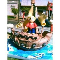 Adorno Para Torta Barco Pirata En Porcelana Fria