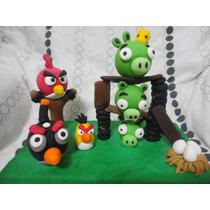 Angry Birds Adorno De Torta En Porcelana