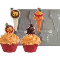 Molde Chocolate Circo Carpa León Decorar Cupcakes Toppers
