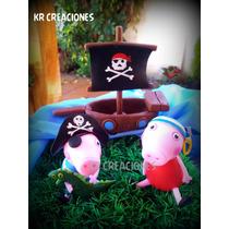 Adorno De Torta En Porcelana Fría Peppa Pig Y George Pirata